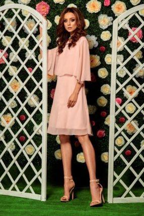 3b35dc66db Lemoniade Szyfonowa sukienka z narzutką L261 pudrowy róż