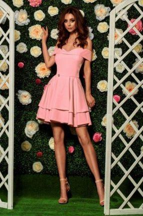 3db0d78bd7 Lemoniade Zjawiskowa sukienka bardotka L258 pudrowy róż