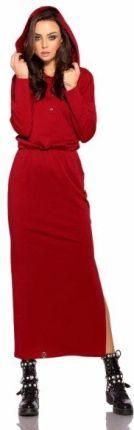 b85500c9db Lemoniade Dresowa sukienka maxi z kapturem L287 bordo