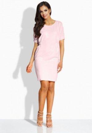 ee98b3118 Lemoniade L206 Klasyczna sukienka z gumkami pudrowy róż