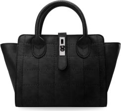 80573f500e183 Torebka damska kuferek do ręki i na ramię mała aktówka z geometrycznymi  przeszyciami - czarny