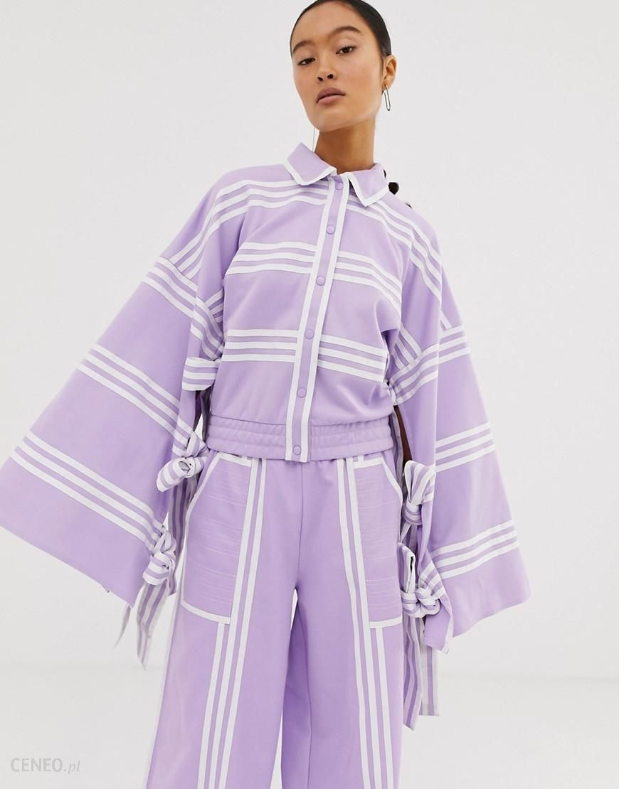 adidas Originals x Ji Won Choi mixed stripe kimono in purple glow Purple