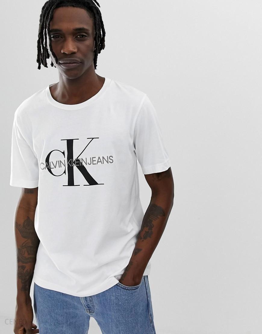 Calvin Klein Jeans Icons monogram embroidered print logo t shirt in white White Ceneo.pl