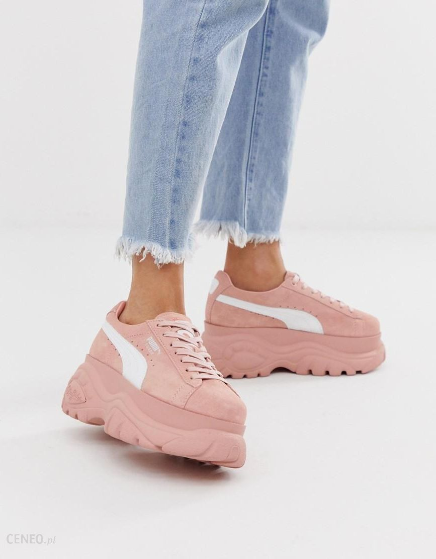 Puma X Buffalo suede cream platform trainers | Blush