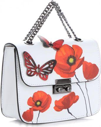 5b2503353021e Eleganckie Torebki Skórzane Modne Listonoszki w malowany wzór kwiatów  renomowanej marki Vittoria Gotti Made in Italy