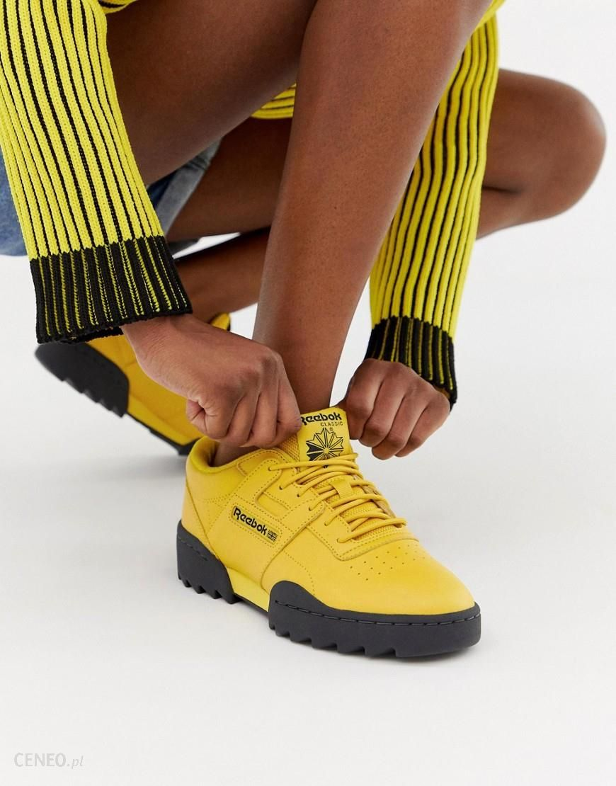 Reebok Workout Ripple trainers in yellow Yellow