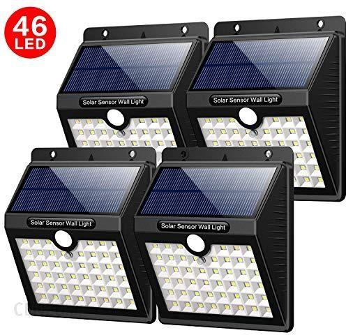 Amazon Yacikos Lampy Solarne Zewnętrzne 46 Diod Led Do Użytku Na Zewnątrz Z Czujnikiem Ruchu Wodoszczelne 1800 Mah 3 Tryby Pracy Do Ogrodu Na