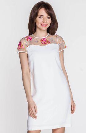 966bca0d07 Numoco 53-15 Dopasowana sukienka - ecru + etniczne szare wzory ...
