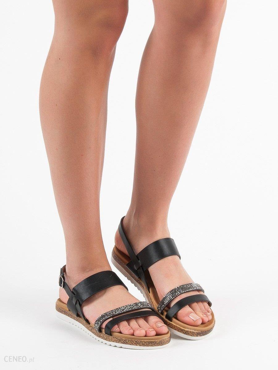 SHELOVET czarne Sandały Na Koturnie Z Gumką | Sandały
