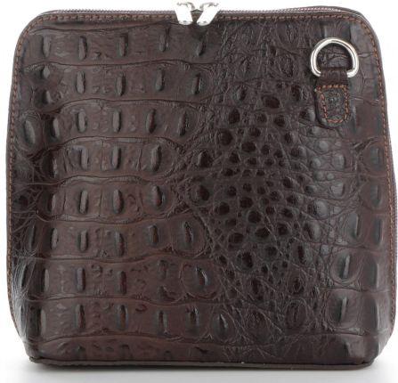 fbca69e95f735 Włoskie Torebki Skórzane Mała i Praktyczna Listonoszka firmy Genuine  Leather we wzór Krokodyla Czekoladowe ...