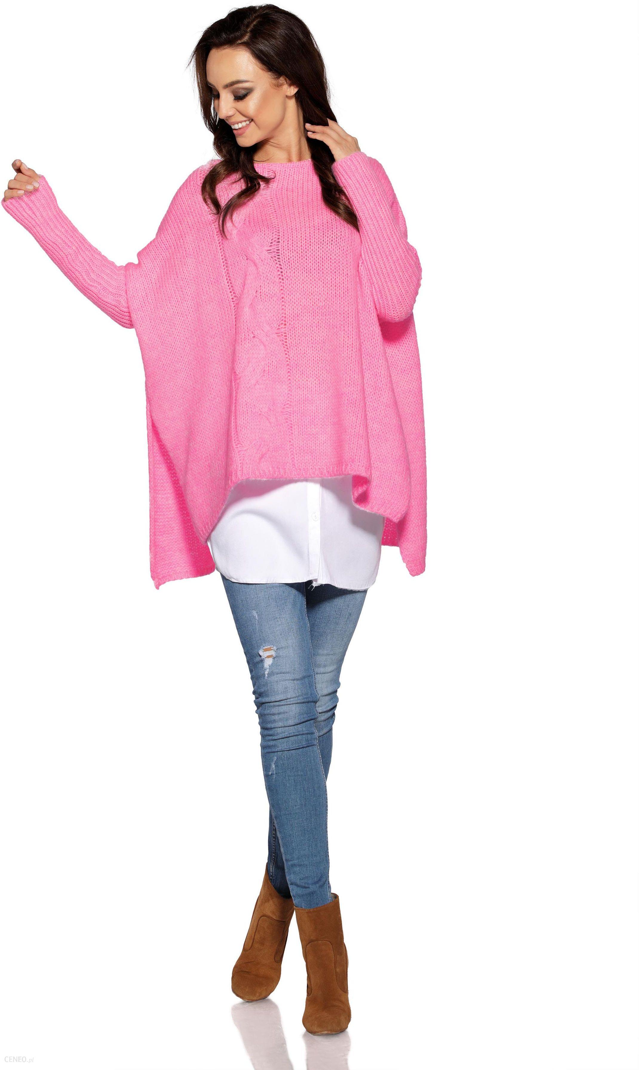 Asymetryczny Różowy Sweter Ponczo z Warkoczem Producent