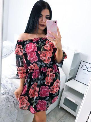 66a98c1bd5 Czarna Sukienka LORIS żabot falbanki duże rozmiary - Ceny i opinie ...