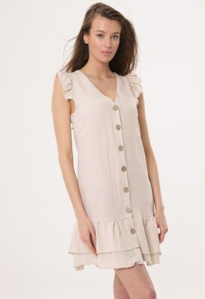 b4d86261b9 Numoco Różowa Sukienka Wizytowa Rozkloszowana z Transparentnymi ...