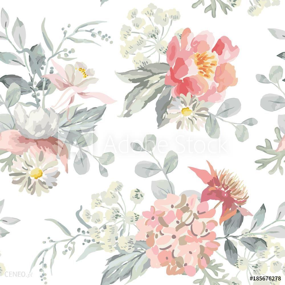 20f245aa3a03d5 Tapnap.pl Fototapeta Delikatne Kwiaty Z Szare Liście Na Białym Tle Akwarela  Wektor Wzór Romantyczna