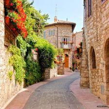 24180f128cadf3 Fototapeta Kwiat prążkowana ulica w miasteczku Assisi, Włochy