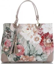 a440ee2085452 Vittoria Gotti Modne Torebki Skórzane we wzór kwiatów Elegancki Kuferek  Made in Italy Multikolor Pudrowy Róż ...