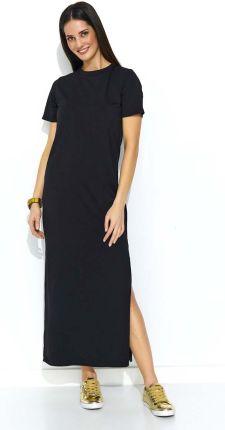 2bb1c80d8c Wieczorowa długa sukienka z efektownym rozcięciem czerwona MOE202 ...