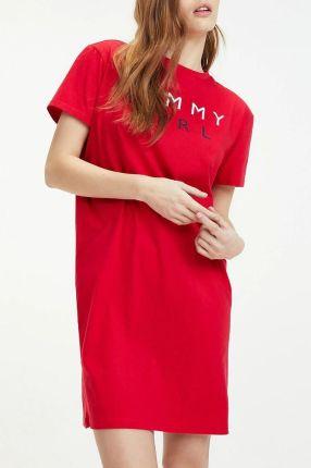 1bef718612 Tommy Hilfiger czerwone domowa sukienka Tango Red z logiem - M