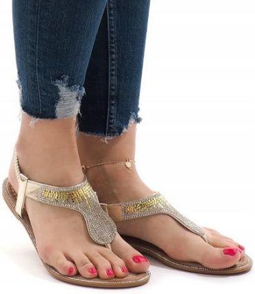 12c9d583eb01e Białe płaskie sandały rzymianki Summer 47,99zł. Złote sandały ćwieki  sandałki japonki B012 36 Allegro