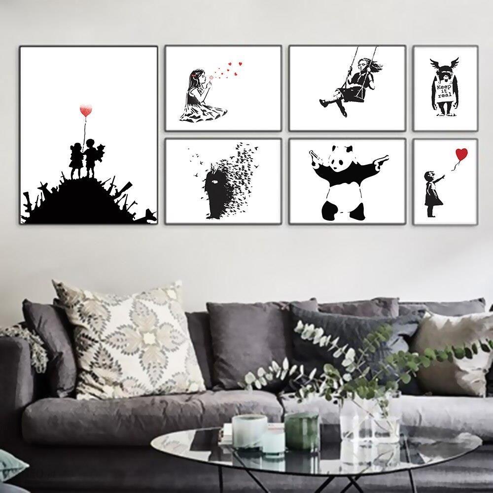 Aliexpress Banksy Czarny Biały Nowoczesne Abstrakcyjne Pop Hipster Reprodukcja Plakat Na ścianę Obraz Salon Płótno Bez Ramki Wystrój Domu Ceneopl