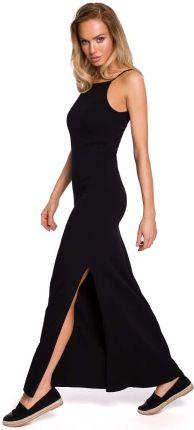 67b0a0be2f Czarna Maxi Dresowa Sukienka na Wąskich Ramiączkach