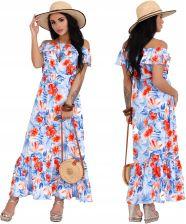 35b08e9fd4 Sukienka maxi długa Niebieska w kwiaty na lato 2XL