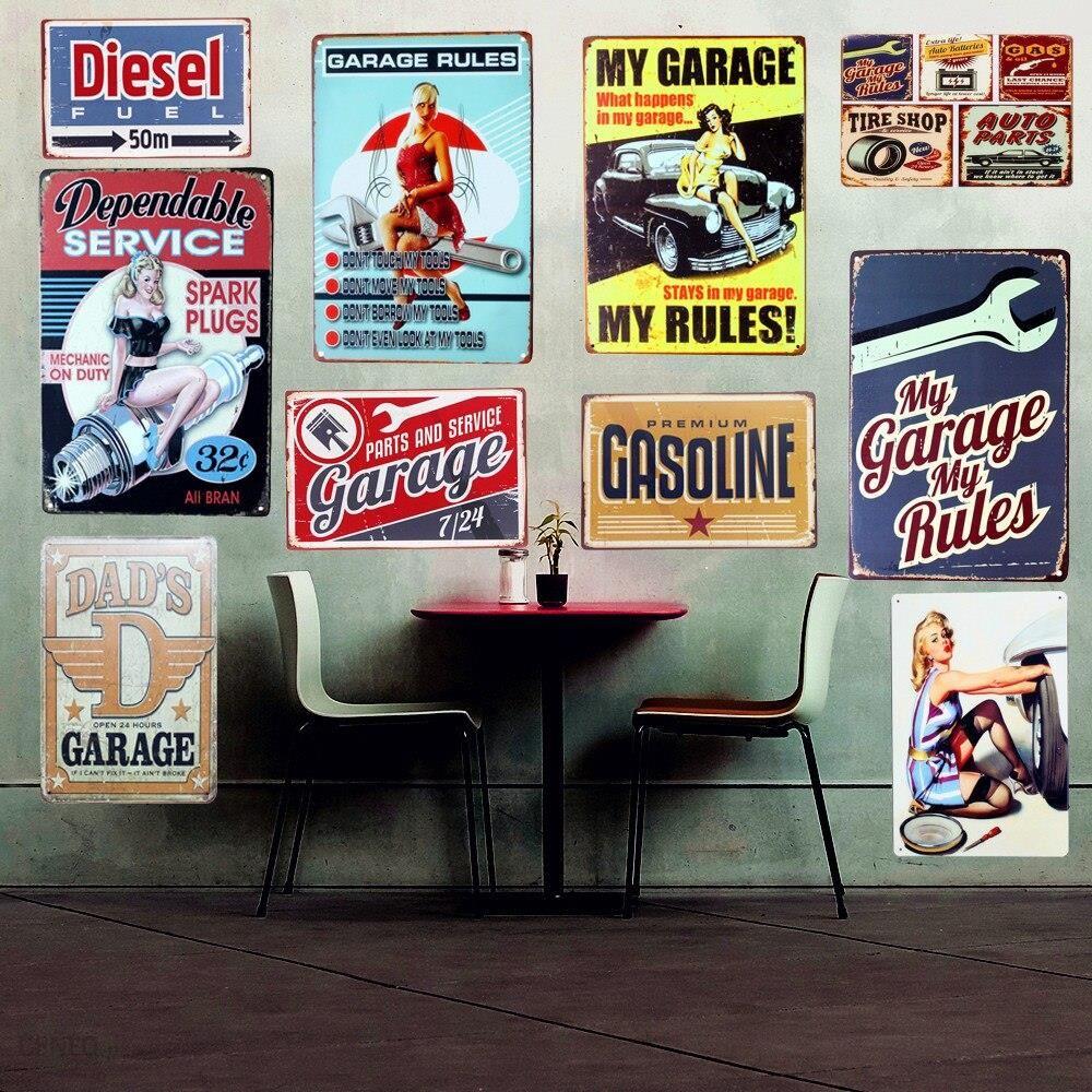 Aliexpress Sprzedaż Hurtowa Garażu Zasady Znaki Na Metalowej Blaszce W Stylu Vintage Home Decor Shabby Chic Płytki Nazębnej Ojców Garaż Dekoracje ście