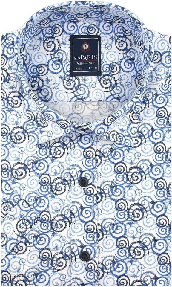 Koszula Męska Big Paris biała w niebieskie wzory SLIM FIT na  wgoqF