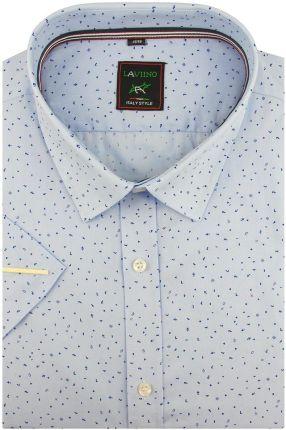 c71b8b2085554 Duża Koszula Męska Laviino niebieska we wzory na krótki rękaw duże rozmiary  K852 - 47/