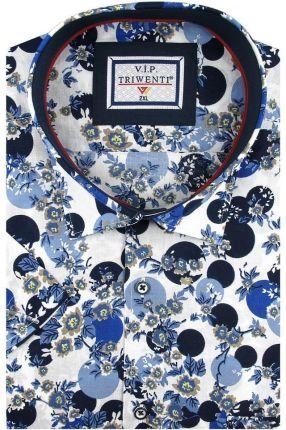 7e7b678139b97 Duża Koszula Męska Triwenti biała w kwiaty na krótki rękaw Duże rozmiary  K863 - 45/