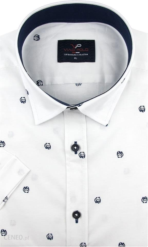 c3b0e38378dfa4 Koszula Męska Viadi Polo biała w pandy SLIM FIT na krótki rękaw K882 - 45/