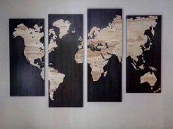 662faacd4a4b85 W Travel Drewniana Mapa Świata Na Ścianę 200 x 120 Allegro