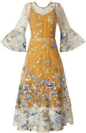 5da5a59eba Sukienka midi z tiulu z haftami ...