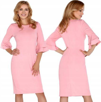 cfdaf0a8c1 Sukienka Pudrowy Róż Klasyczna Elegancka L Allegro