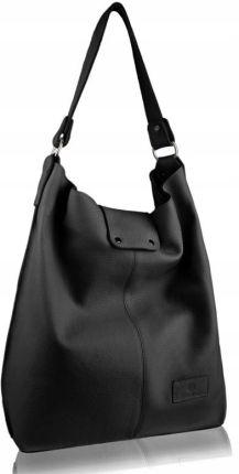 999620c3d996b Duże torby damskie na ramię skórzane - Barberini's - Czarny - Ceny i ...