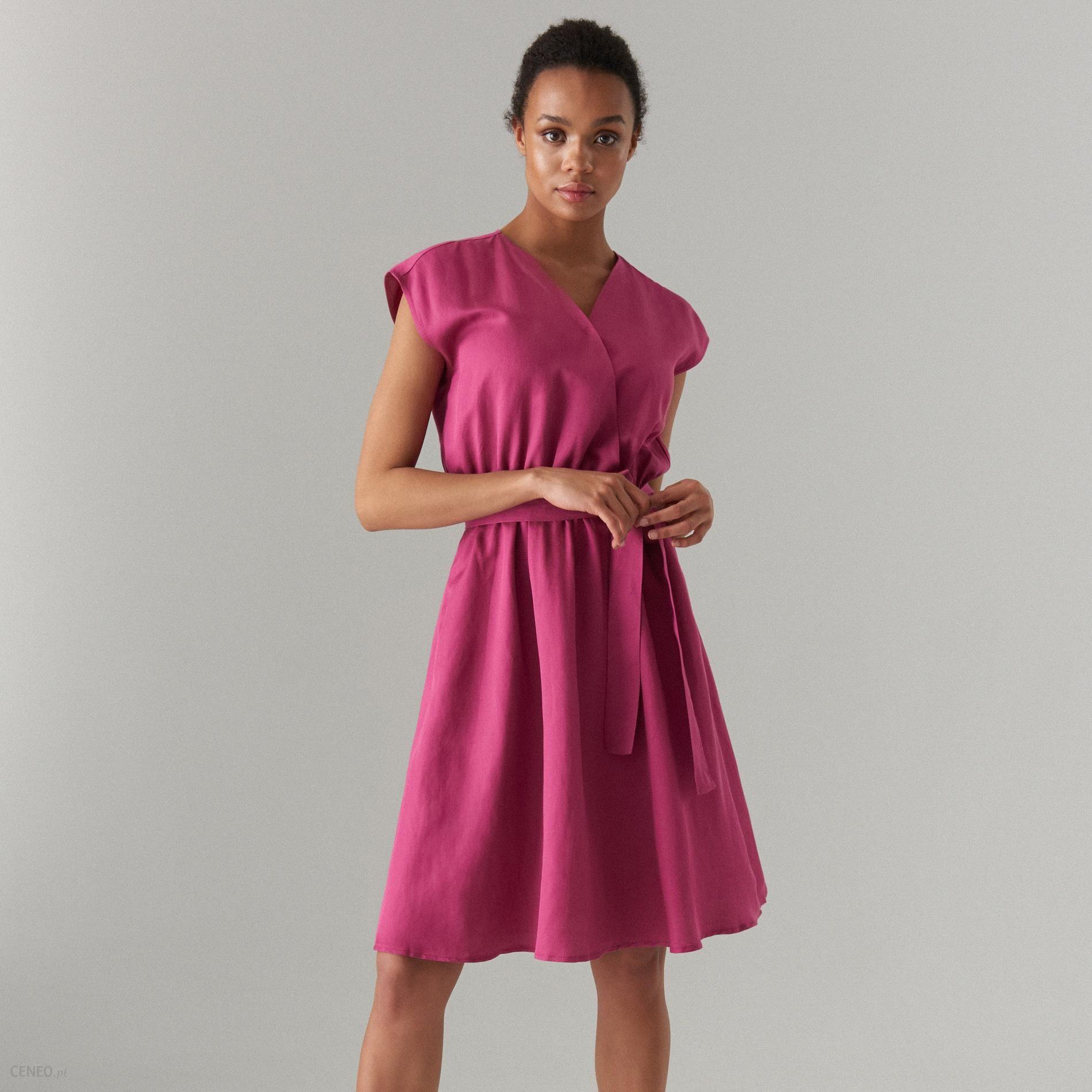 ada17693 Mohito - Rozkloszowana sukienka z lnem - Różowy - Ceny i opinie - Ceneo.pl