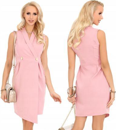c121202048 Sukienka asymetryczna elegancka na guziki różowa M Allegro