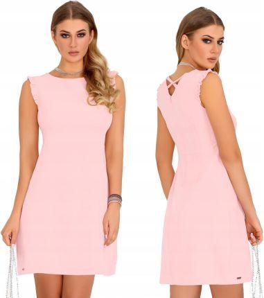 141596a4d9 Sukienka Pudrowy Róż Prosta Elegancka Klasyczna S Allegro