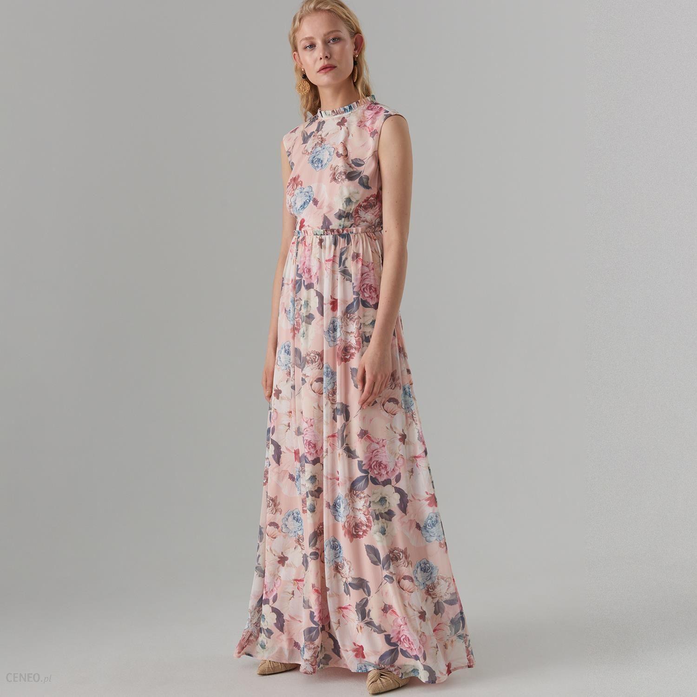 Mohito Maxi sukienka w kwiaty Różowy Ceny i opinie Ceneo.pl