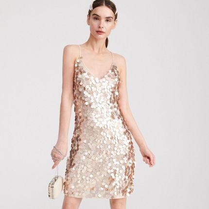 410dfaa854 Reserved - Złota sukienka z cekinami - Złoty ...