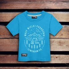 61e2f98bc Koszulka dla dziecka MAŁY WIELKI PODRÓŻNIK jasnoniebieska 3-4 lata