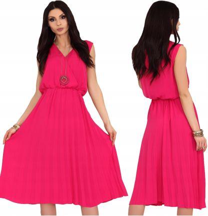fb8da154d3 Sukienka midi rozkloszowana plisowana różowa L XL Allegro