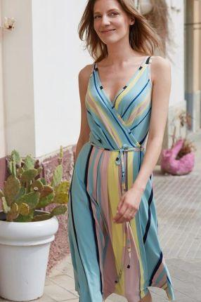 ecdfcdb9f4fe45 sukienka kopertowa HOT AS HEL w eko pastelowe pasy - uszyta w Paterku