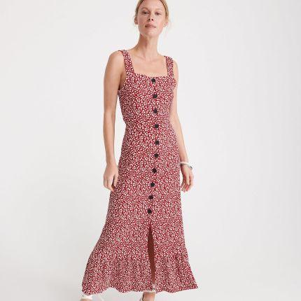 a1c051d267 Reserved - Długa sukienka w drobne kwiaty - Czerwony ...