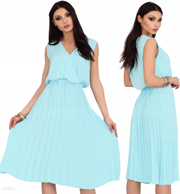 6b206d6f Sukienka midi rozkloszowana plisowana miętowa L/XL - Ceny i opinie -  Ceneo.pl