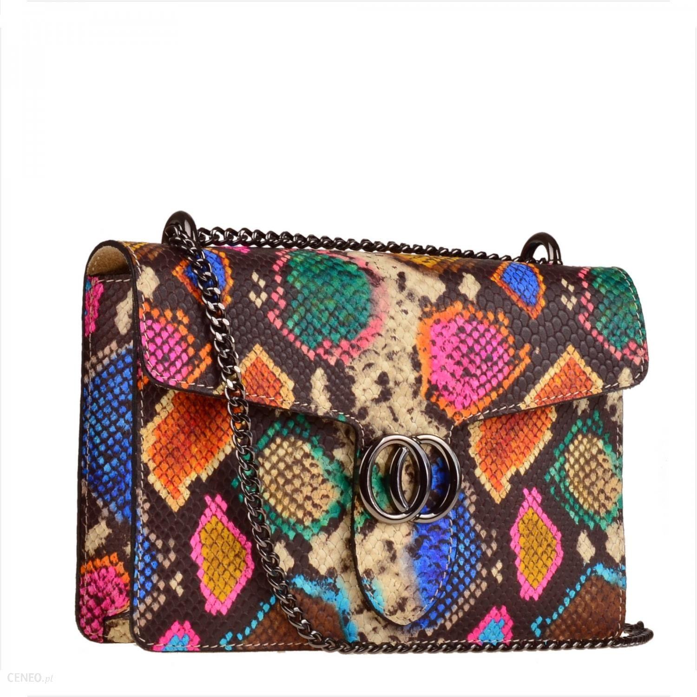 6e7c9593a Włoska skórzana torebka listonoszka wzór wężowej skóry kolorowa - zdjęcie 1