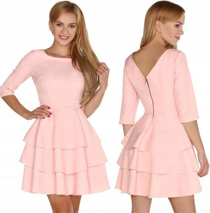 8436367048 Sukienka różowa rozkloszowana falbany rękaw 3 4 XL Allegro