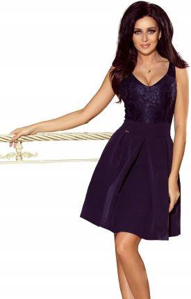 25d3e252bf 208-1 Sukienka z koronkowym dekoltem Granat XL Allegro