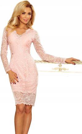 dc5db3081c Koronkowa Sukienka Długi Rękaw Dekolt Różowa 40 L - Ceny i opinie ...