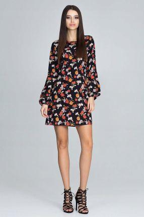 6980122180 Trapezowa Sukienka mini Kobieca prosta Kwiaty L Allegro